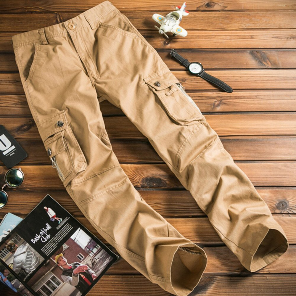 Colmkley Mens Outdoor Cargo Work Pants Tactical Casual Combat Military Trousers Khaki