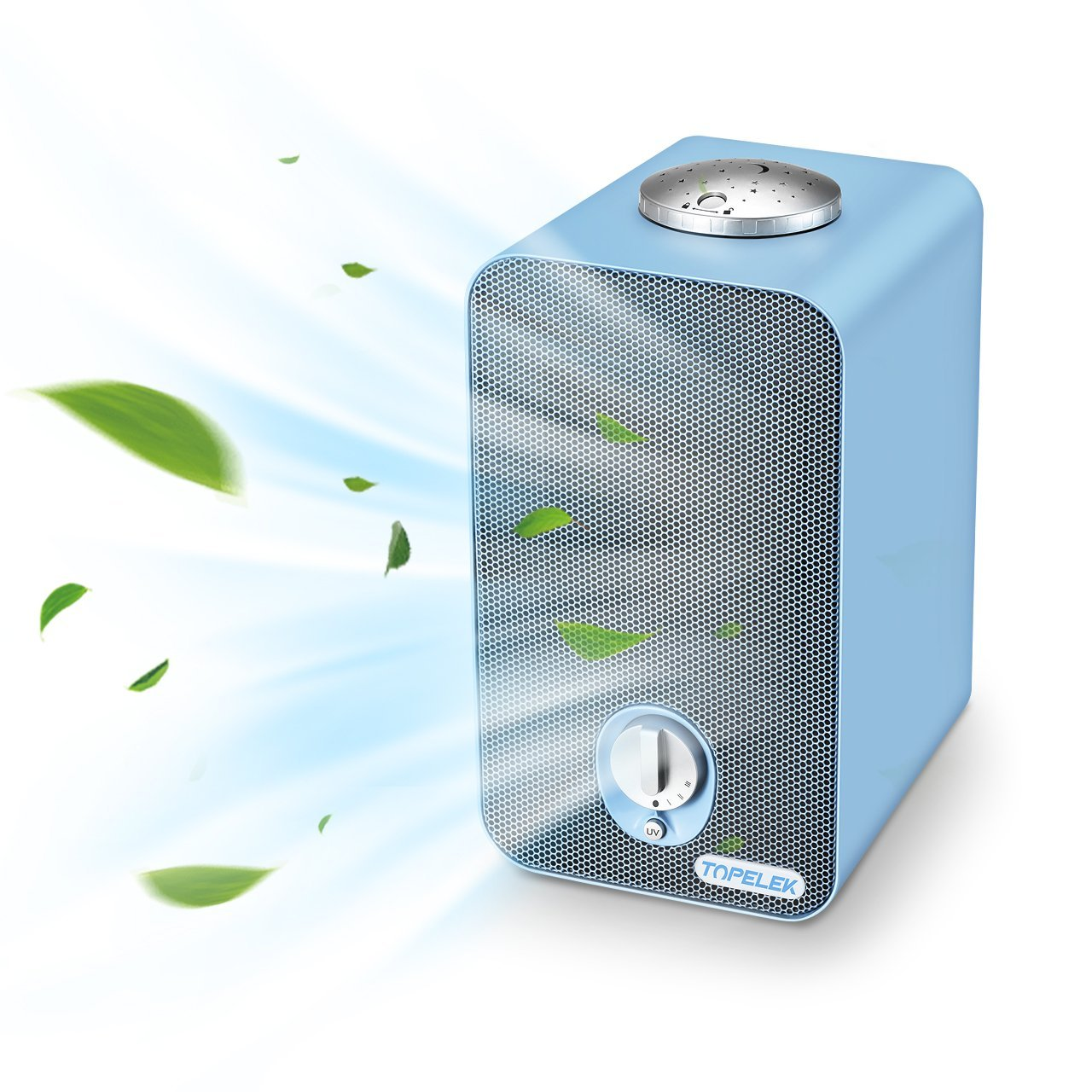 Air Purifier Home TOPELEK Air Cleaner with Ioniser HEPA& Active Carbon Filter UV light - 3 Speed Room Purifier Fan with Top Projector for Allergies, Pollen, Dust, Pet Dander (215sq.ft, CADR 100)