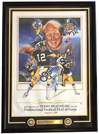 71f3ad108 AS-IS Terry Bradshaw Signed Framed 24x36 Steelers Hall Of Fame Litho P59834  - PSA