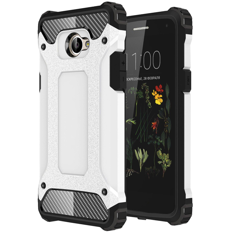 LG K5 Funda, HICASER Híbrida Case [Heavy Duty] Rugged Armor Cover, Dual Layer Shock Resistant Carcasa para LG K5 Blanco