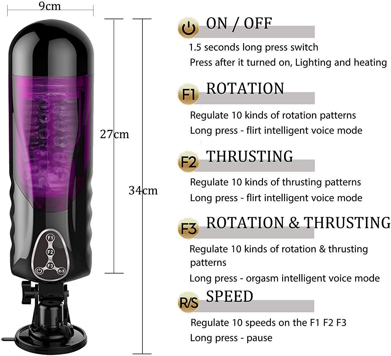 Fast Shipping Japan USB Heating Automatic Suck Cup 1000 Frequency Telescopic-S5C28-WHITE