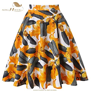 97d4c24cd3 Women Summer Autumn Midi Cotton Skirt Yellow American Pumpkin Flowers  Printing Floral Skirt High Waist Pleated