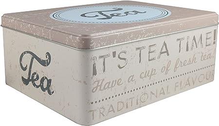 Lata de metal con tapa retro vintage Bote Metálico Caja de Regalo caja de metal, beige, 2 x Dose rechtechig: Amazon.es: Hogar