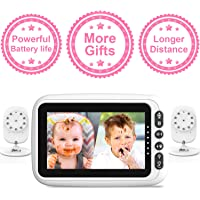 "2 Cameras with 4.3"" Video Baby Monitor, Auto-Switch Cameras, Up to 8 Hours 1200mAh Rechargeable Battery, Doggie Camera, 2-Way Talk, Power Saving/VOX, Zoom in, Night Vision, Temperature and Lullabies"