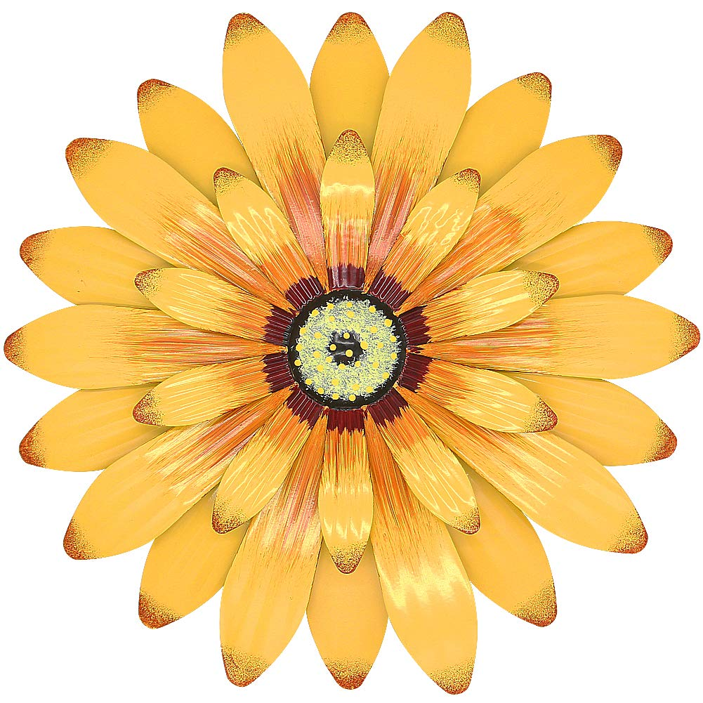 "Juegoal 16"" Large Metal Flower Wall Art Inspirational Wall Decor Hanging for Indoor Outdoor Home Bedroom Living Room Office Garden, Yellow"