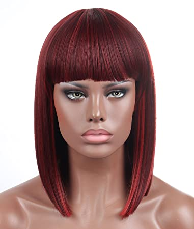 Kalyss Bob Short Hair Wig For Black Women Wine Red Mixed Color Heat Resistant Yaki Synthetic Hair