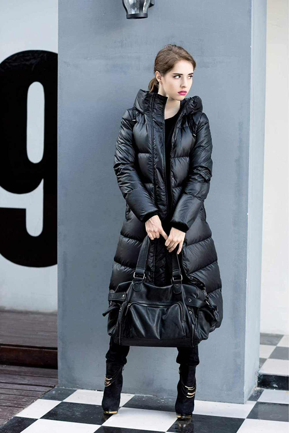 fidpMo Winter Women Duck Down Jacket Hooded Coats Long Warm Outwear