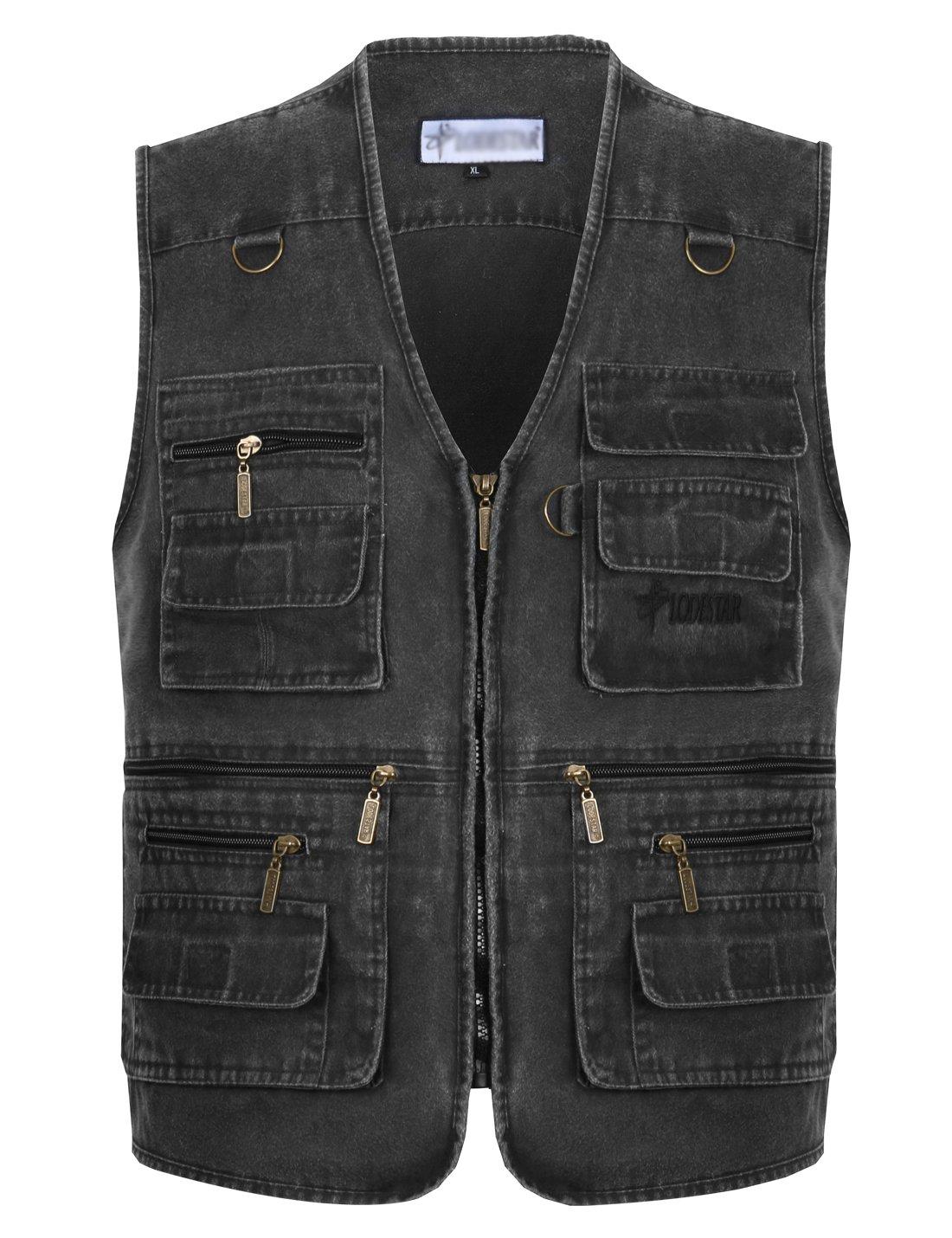 Gihuo Men's Casual Outdoor Leisure Lightweight Pockets Fishing Photo Journalist Denim Vest Plus Size (X-L, Grey)