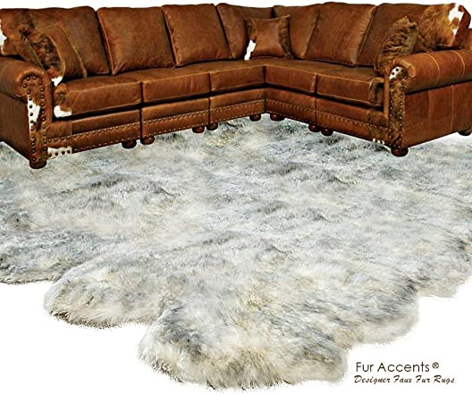 Fur Accents Designer Faux Fur Throw Rug Luxurious Gray Tip Wolf Creamy Off White with Gray Tips – Thick – Multi Pelt Sheepskin Shape – Exclusive Designer Rugs Throws 8 x10