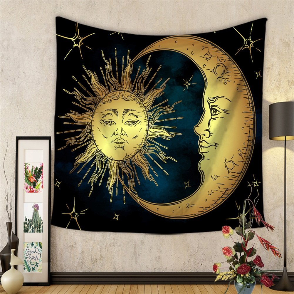 Celestial Starry Star Tapestry Wall Hanging Nebula Beach Towel Throw Tie Dye Hippie Hippy Boho Bohemian Wall Art Window Curtain Table Cover Bedspread Tapestry HYC20-US (#6) Hersent