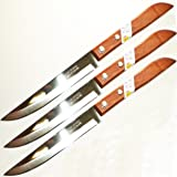 Set of 3 KIWI Stainless Steel Knives, wood handle # 501