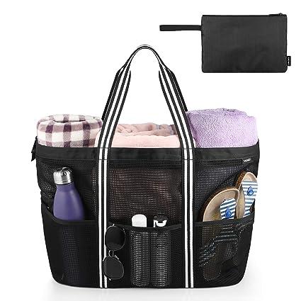 GAGAKU Bolsa Extra Grande de Malla de Playa, Bolsos Totes para Mujer - Bolsa de almacenamiento para Playa y Bañarse y Natación