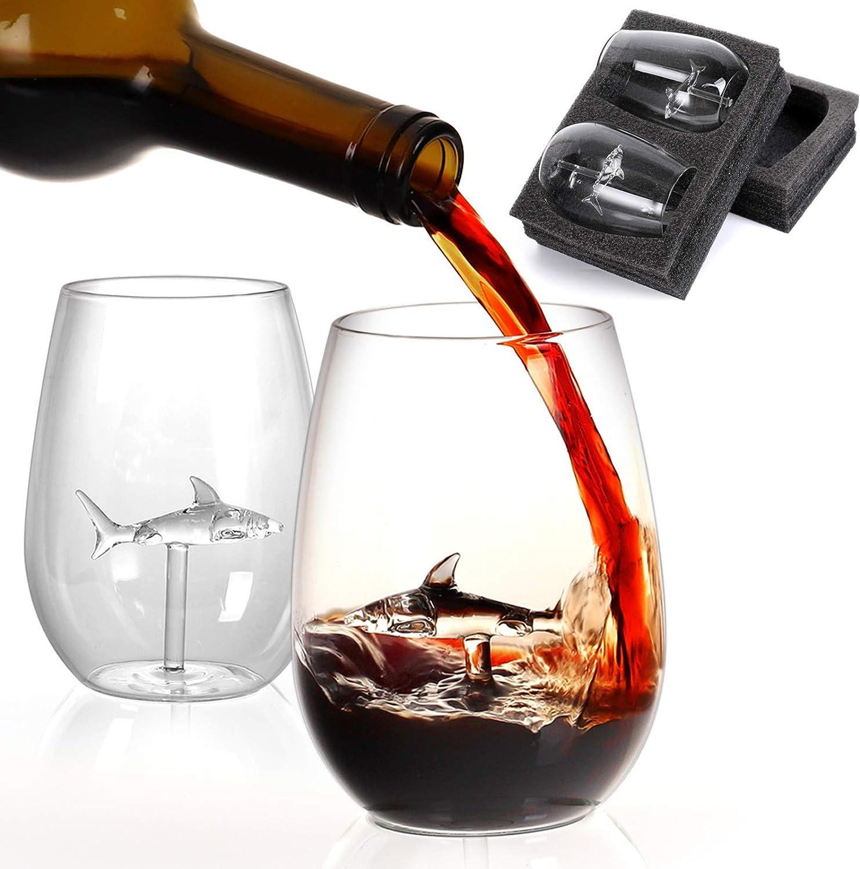 Shark Stemless Wine Glass ,Anuboe Creative Wine Glasses Great Gift for Birthday Anniversary Wedding Party Christmas Celebration Birthday Party - 2 Packs