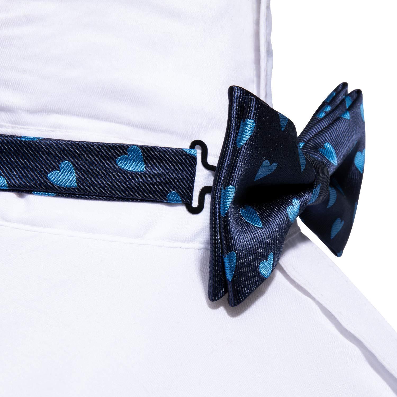Barry.Wang Conjunto de pajarita y pa/ñuelo de bolsillo pretied azul para hombre Conjunto de corbata de coraz/ón