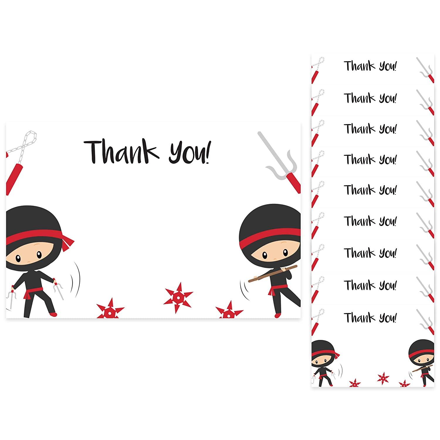 Ninja Thank You Cards (10 Count) With Envelopes Bulk Birthday Party Bridal Blank Graduation Kids Children Boy Girl Baby Shower (10ct. Thank You)