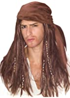 Caribbean Pirate Scarf and Beaded Pirate Wig - Adult Std.