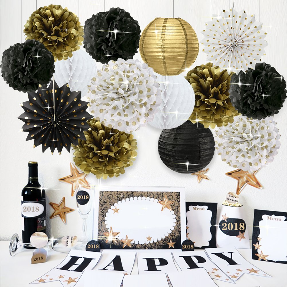 Black White Gold Party Decorations Tissue Paper Flowers Pom Poms Paper Lanterns Hanging Paper Fans for Retirement Wedding Birthday Anniversary Graduation New Year Party Decorations