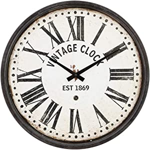 JUMBO DECOR Vintage Black Metal Wall Clock Silent Non Ticking - 16 Inch Battery Operated Wall Clock for Kitchen,Home,Bedroom - Silent Non-Ticking Wall Clock