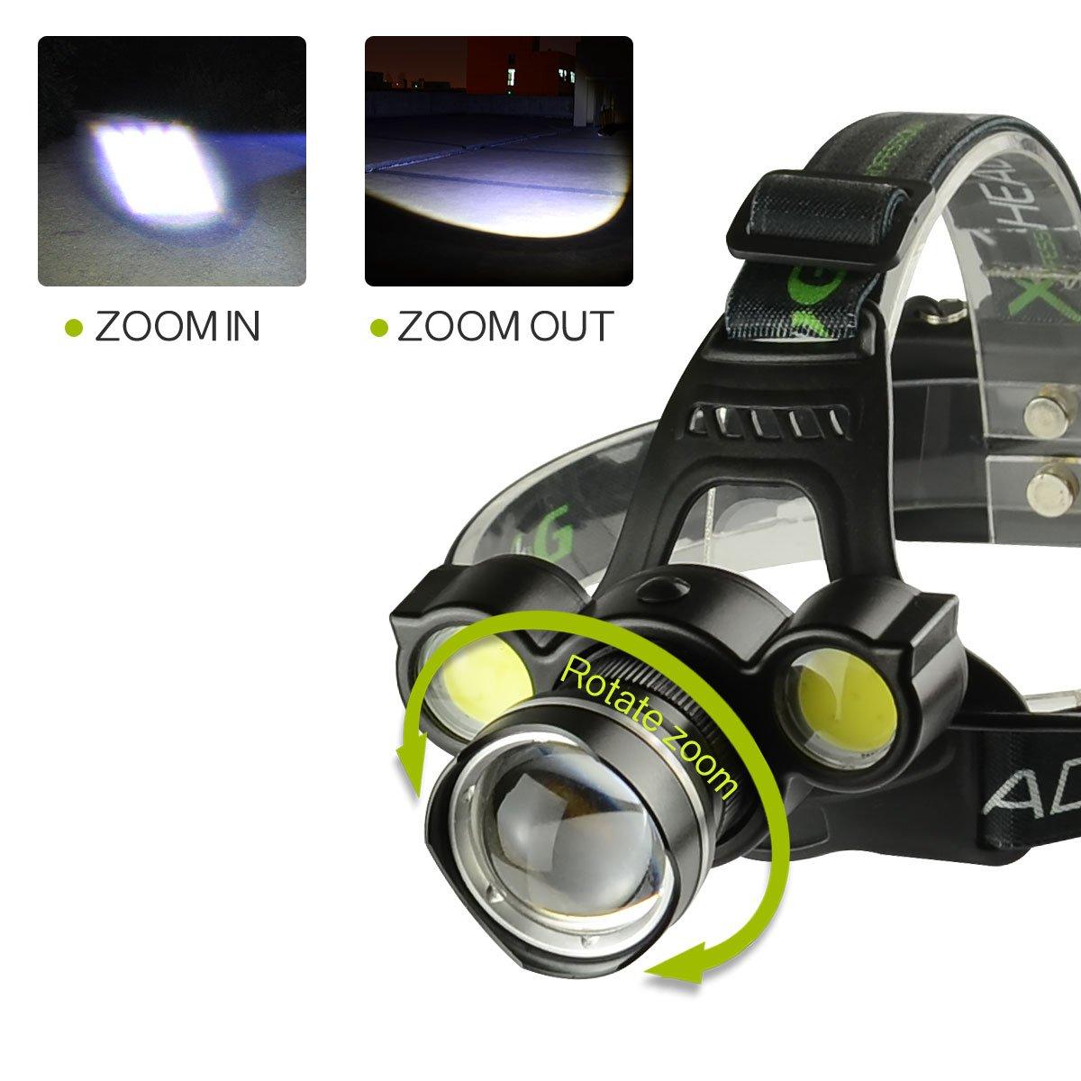 ENCEURO Linterna Frontal Recargable de Cabeza luz LED 8000LM T6 4X COB Zoom Impermeable ROTARU Zoom