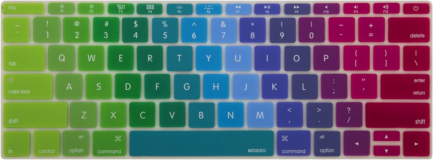 MOSISO Silicone Pattern Keyboard Cover Protective Skin Compatible with MacBook Pro 13 inch 2017 /& 2016 Release A1708 Without Touch Bar Blue and Pink MacBook 12 inch A1534