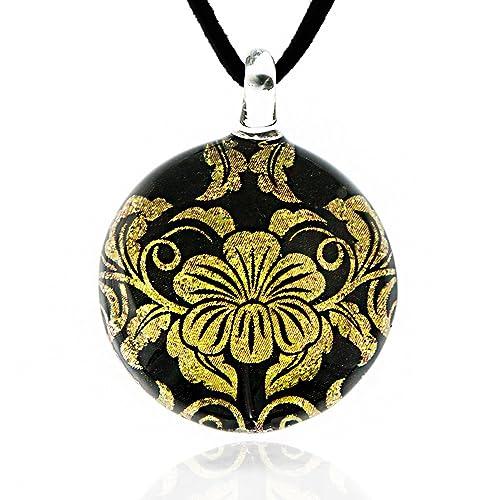 1ad9be1e548 Hand Blown Venetian Murano Glass Glitter Golden Black Hibiscus Flower Pendant  Necklace, 17-19 inches: Amazon.ca: Jewelry