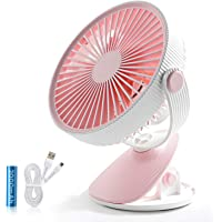 SMARTDEVIL Portable Desk Fan, Lower Noise, USB Rechargeable Battery Operated Fan with 3 Speeds, 2000Mah Battery for Home…