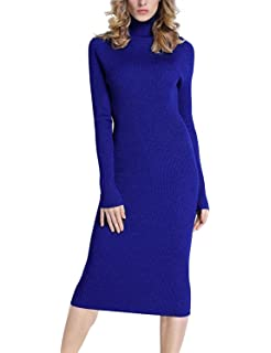 bd460c4d8a PrettyGuide Women Slim Fit Ribbed Turtleneck Long Sleeve Maxi Knit Sweater  Dress