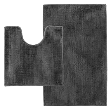 LANGRIA Set of 2 Soft Plush Chenille Yarn Shaggy Toilet Mats in 2 Sizes Anti-Slip Back Bathroom Living Room Bedroom Mat Floor Water Absorbent and Anti Mildew and Mold (2 Pieces, Dark Gray)