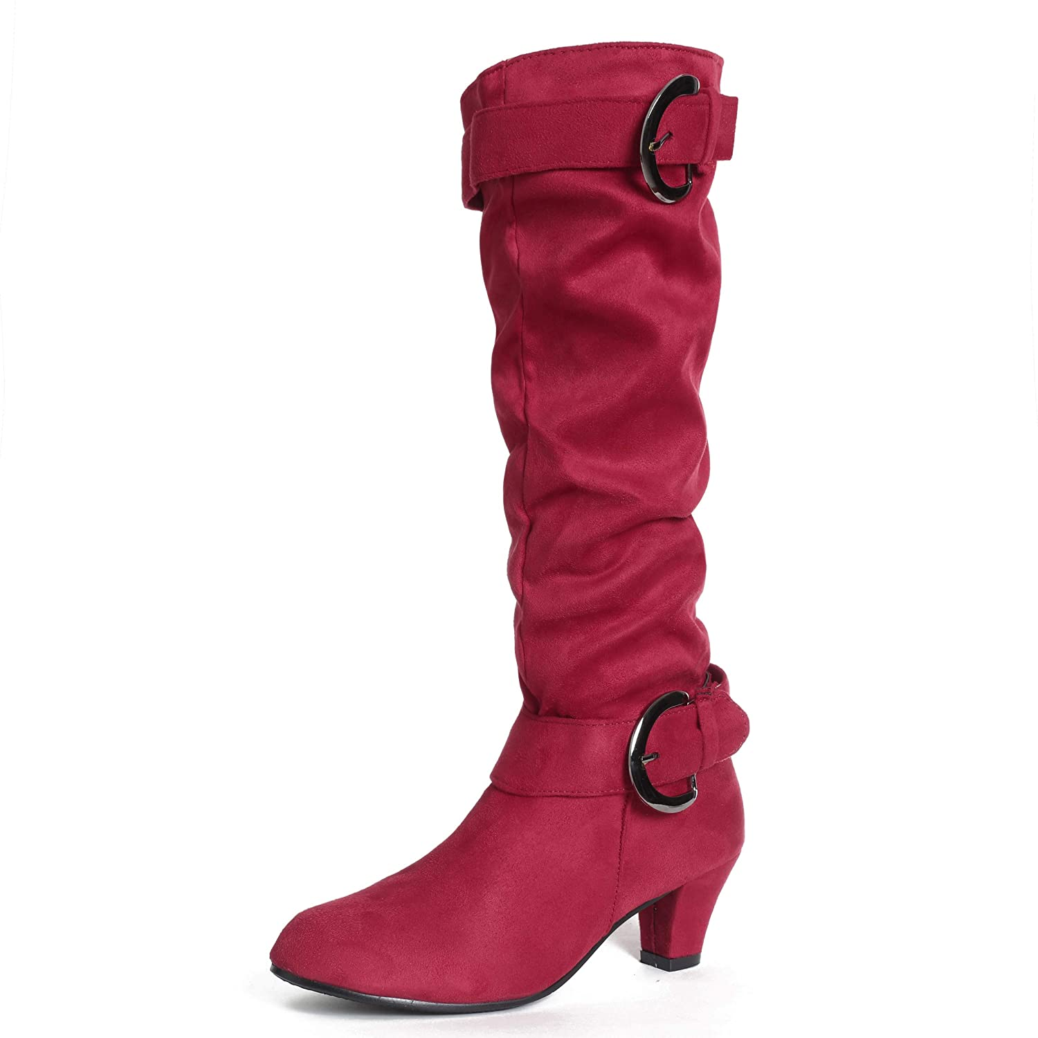 Susanny Suede Riding Boots for Women Slouchy Knee High Buckle Strappy Zipper Botas Kitten Heels Shoes