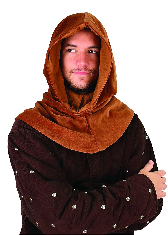 Men's Medieval Brown Velvet Cowl Hood - DeluxeAdultCostumes.com