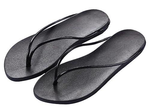 900b403d616f Jiu du Women s Arch Support Cushioned Foam Footbed Flip-Flop Beach Shoe  Slipper Thong Black