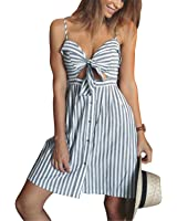 SuperBlu Fashion women summer dresses Cotton and linen Backless strapless spaghetti strap dress Blue striped casual