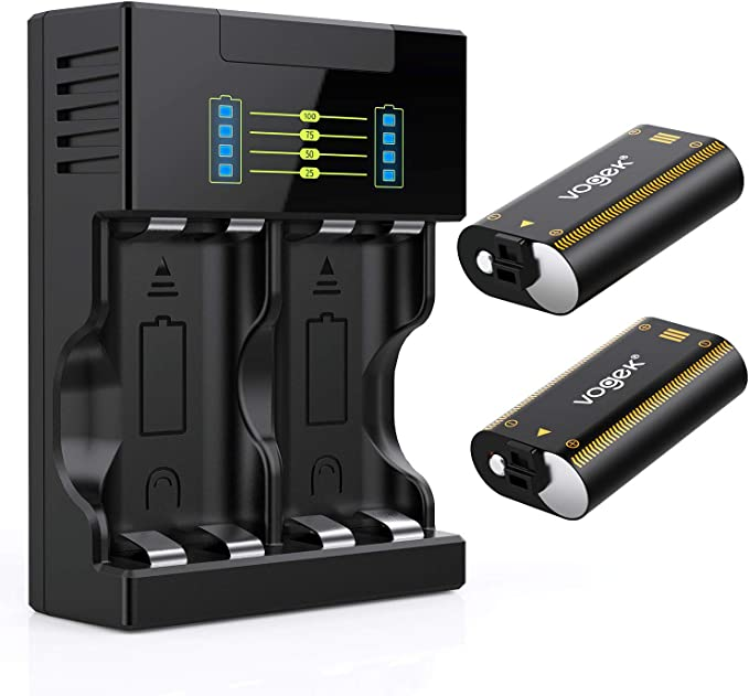 Vogek - Batería para mando de Xbox One, 2 baterías recargables de 2200 mAh con cable de carga USB y kit de cargador para mando inalámbrico Xbox One/S/X/Elite: Amazon.es: Electrónica