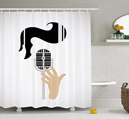 KRISTI MCCARTNEY Elvis Presley Decor Shower Curtain Vintage Microphone And Retro Haircut Iconic Singers Hairstyle