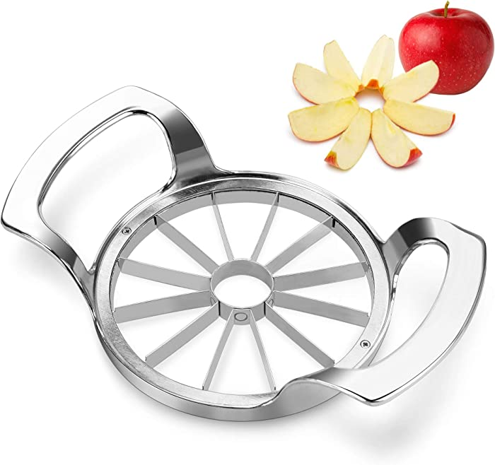 Apple Slicer, ENLOY Stainless Steel Ultra-Sharp 12-Blade Apple Corer, Upgraded Version Extra Large Apple Cutter, Divider for Up to 4 Inches Apples