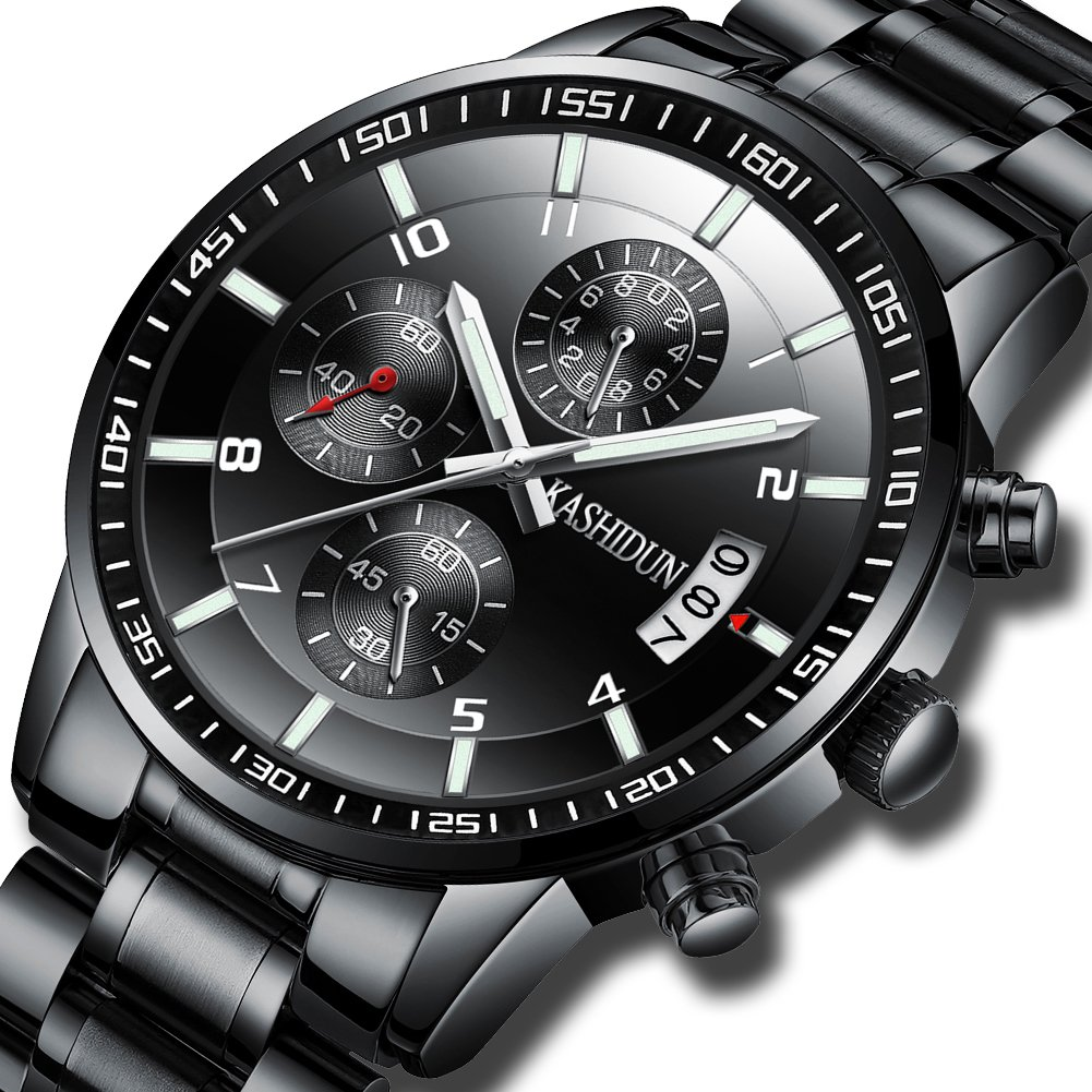 KASHIDUN Men's Watches Sports Military Quartz Wristwatches Waterproof Chronograph Stainless Steel Band Black Color 998-QHG