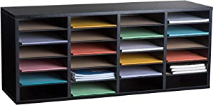 AdirOffice Wood Adjustable Literature Organizer - Removable Shelves - Heavy Duty Stackable Literature Organizer - Great for Office, Classrooms and Mail Rooms (24 Compartment, Black)