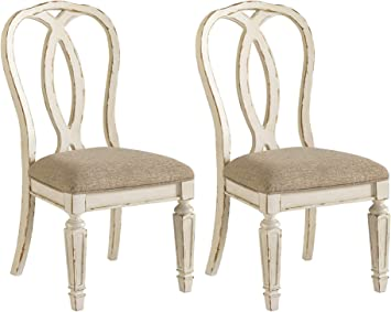 Signature Design by Ashley Realyn Dining Room Chair, Splat Back, Chipped  White
