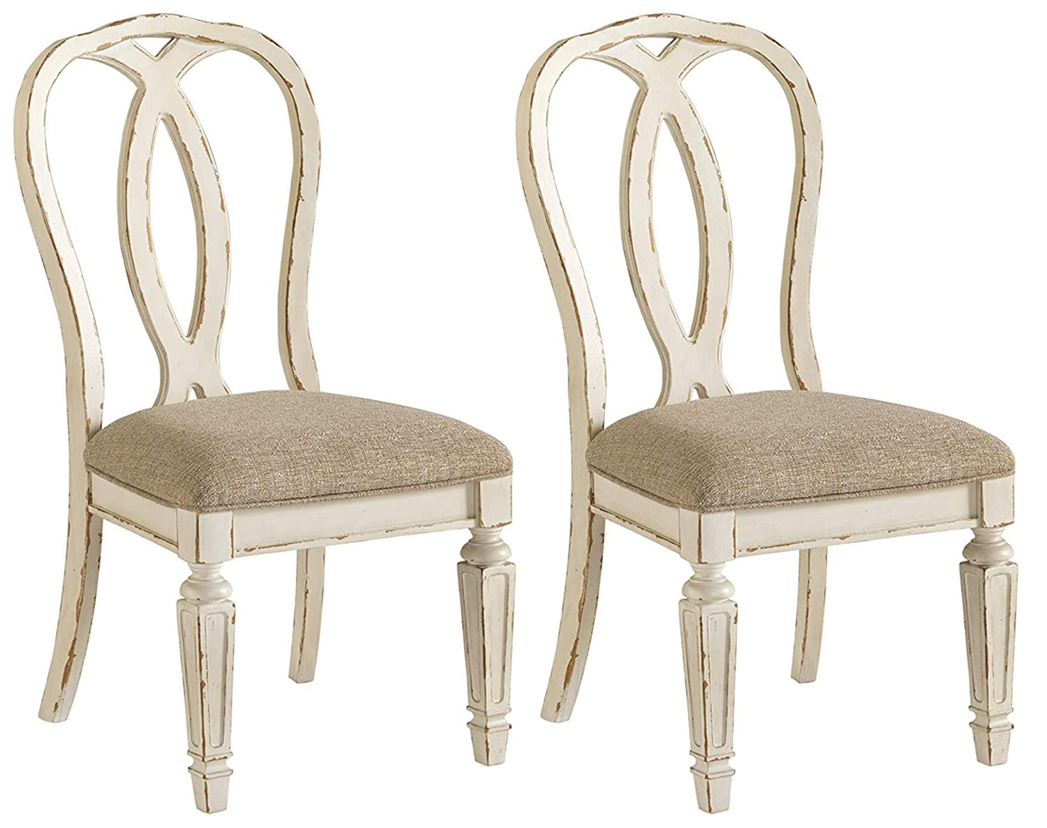 Signature Design by Ashley D743-02 Realyn Dining Room Chair, Chipped White