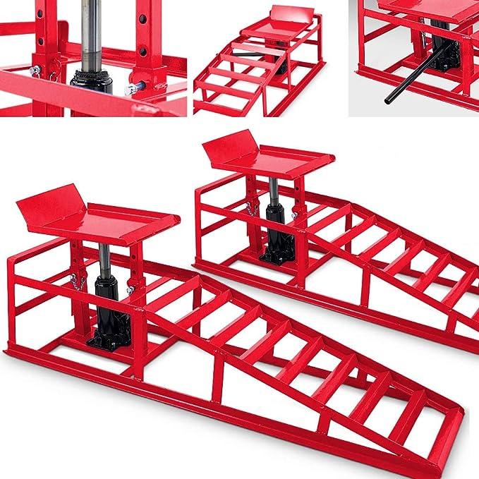 BITUXX® - Juego de 2 rampas hidráulicas para vehículos, con Gato hidráulico, Altura Regulable, rampa de Mantenimiento, Plataforma elevadora, rampa de Acceso, en Rojo: Amazon.es: Coche y moto