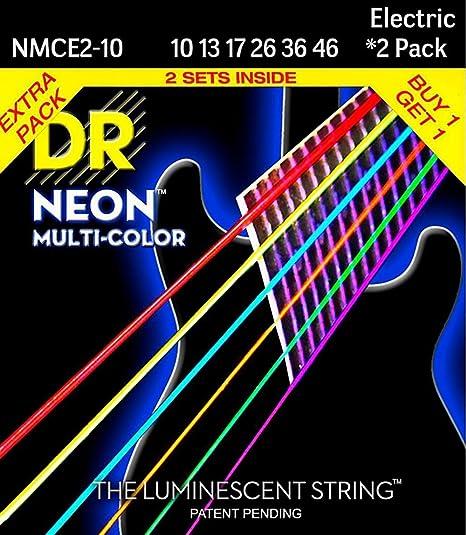 Dr cuerdas Hi-Def neón multicolor tamaño mediano cuerdas para guitarra eléctrica (10 –