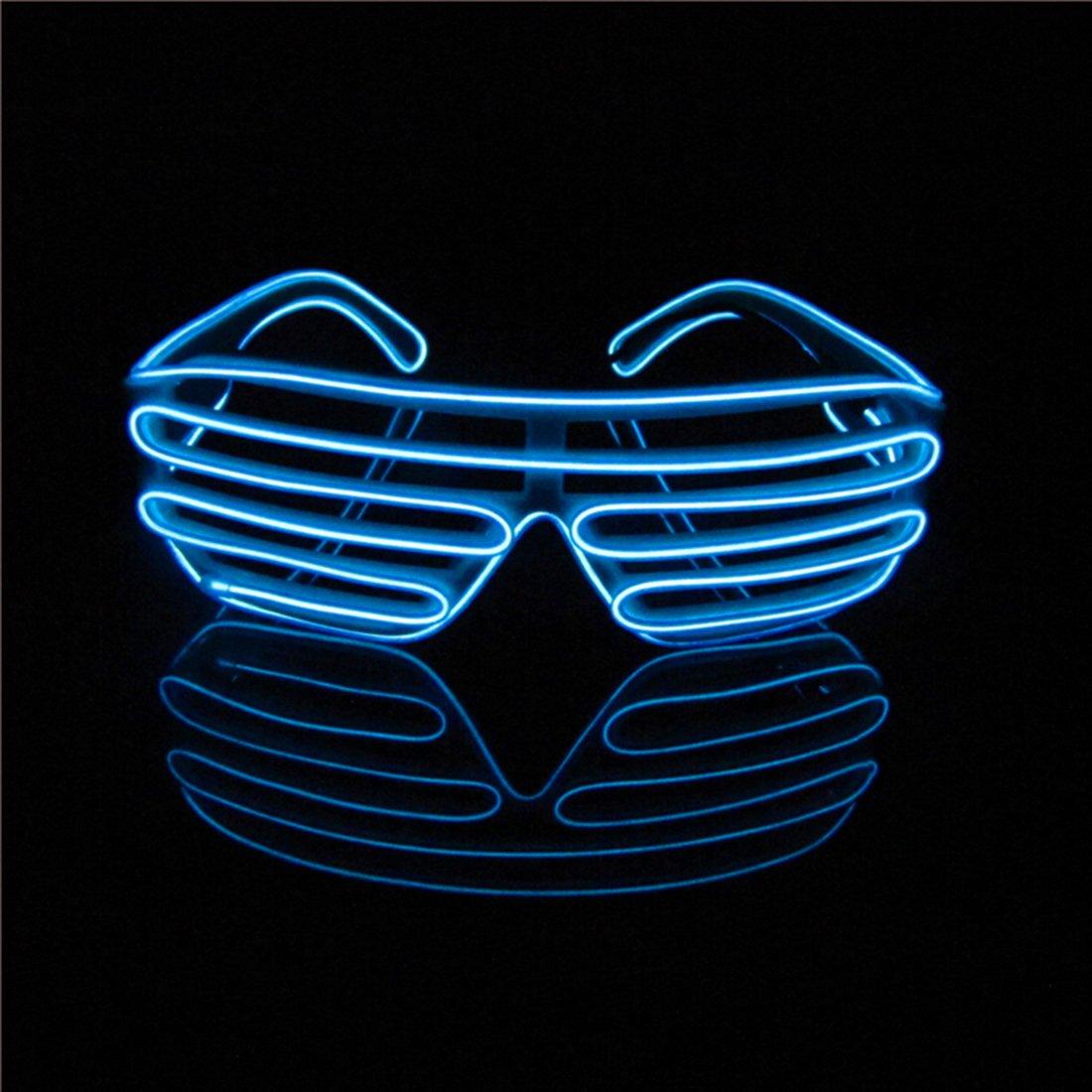 Lerway Neon El Wire LED Light Up Shutter Crazy Luminous Glasses ...