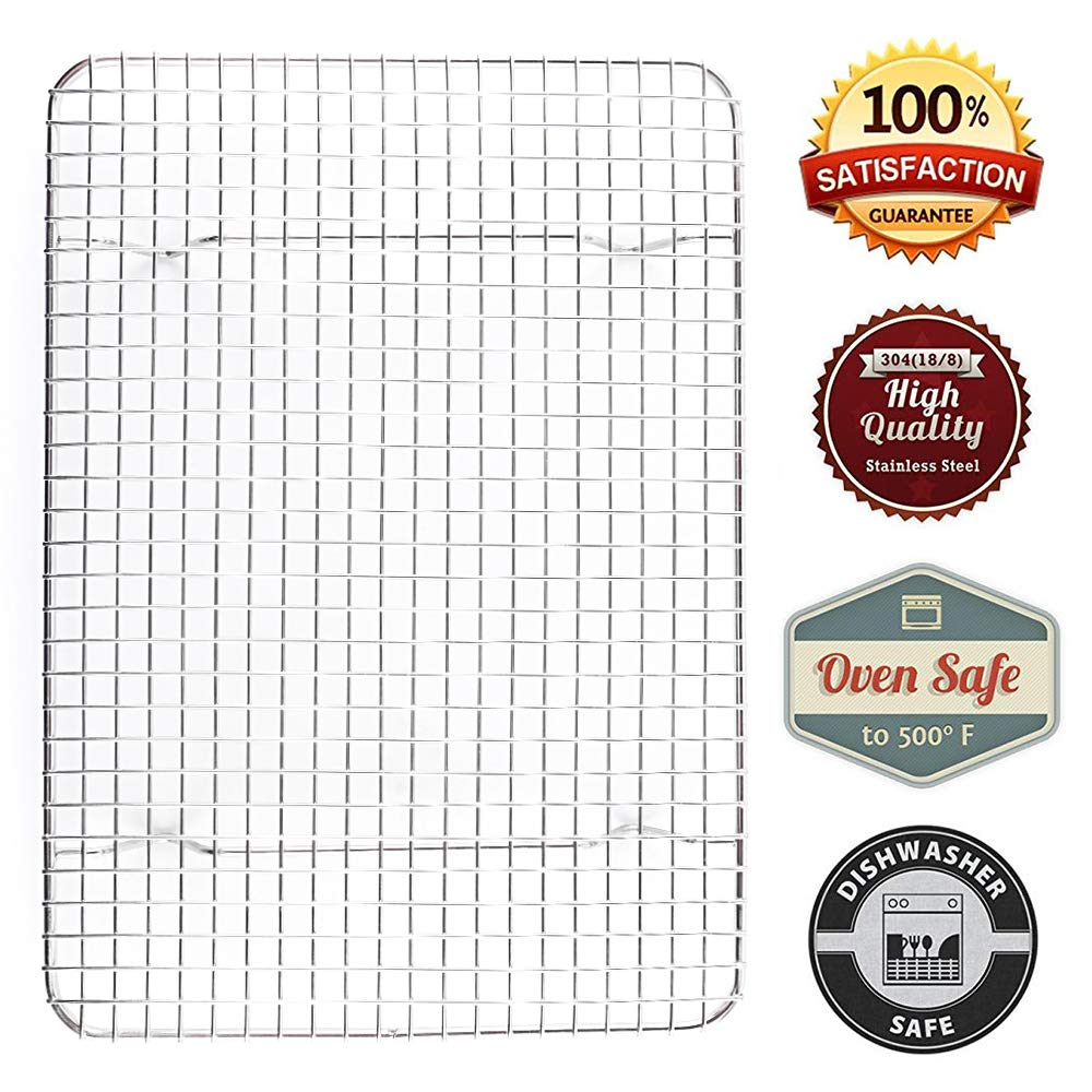 Heavy Duty 100% Stainless Stee | Bakeware Baking | Cooling| Oven Roasting | Broiler Rack | Tight-Grid 10 X 15 inch. Compatible with Various Baking Sheets Oven Pans