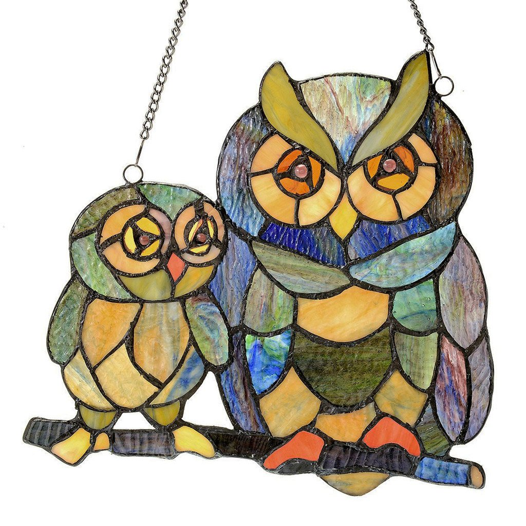 11'' H Stained Glass Friendly Owls Window Panel
