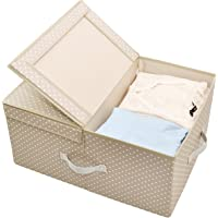 60L Collapsible Clothes Storage Box, Garment Storage Organizer Container with Lid, Big Garment Storage Bin, Closet Storage Basket, Garment Storage Organizer Box