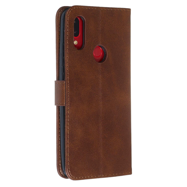 Cartera Funda de Cuero Ranuras para Tarjetas Cierre Magnetico Soporte Plegable Carcasa Antigolpes para Xiaomi Redmi7 LOYYO070289 Oro Lomogo Funda Xiaomi Redmi 7
