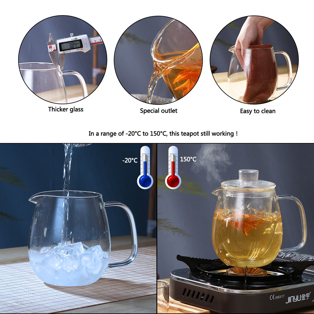 oneisall Glass Pitcher With Lid & Infuser - Borosilicate Glass Carafe 40oz/1200ml BPA-FREE Heat-resistant,Perfect For Hot&Cold Water,Tea,Juice,milk DHTGYBL581 (1200ML) by oneisall (Image #2)