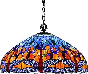 24 Inch Blue Dragonfly Tiffany Style Pendant Lighting for Living Room,Handmade Stained Glass Blue Large Lampshade Chandelier,Retro Ceiling Light for Home Office, E27 3 Lights,110V-240V