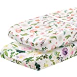 Pobibaby - 2 Pack Premium Changing Pad Cover - Ultra-Soft Cotton Blend, Stylish Floral Pattern, Safe and Snug for Baby (Allur
