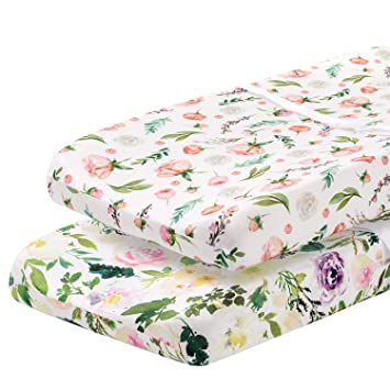 Stylish Floral Pattern 2 Pack Premium Changing Pad Cover Safe and Snug for Baby Allure Pobibaby Ultra-Soft Organic Cotton Blend